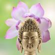 tête de Bouddha et fleur de lotus