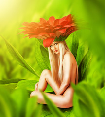 Beautiful sexy woman Fairy flower