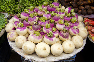 fresh radish in street market, Delhi,India