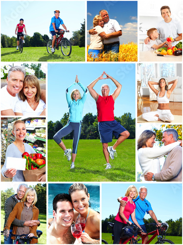 Group of happy people collage.