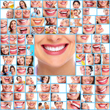 Dental health. Woman smile collage.