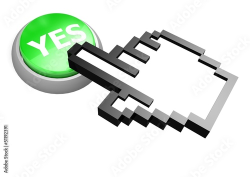 Yes button with hand cursor