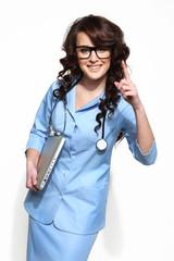 lekarz pokazuje palec