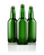 Three beer bottles isolated on white