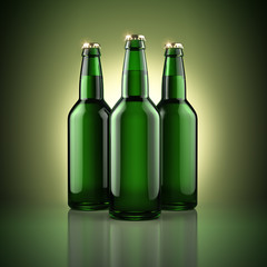 Three beer bottles