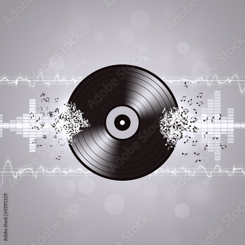 Black and White Vinyl Music Background
