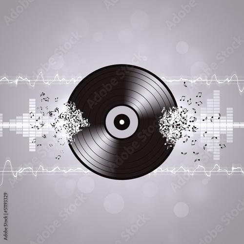 Black and White Vinyl Music Background