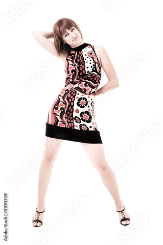 Full length of  sensual woman in short dress