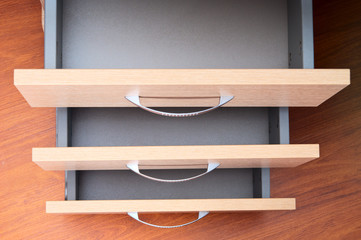 Empty desk drawers