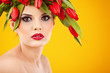 beauty woman portrait with wreath from flowers on head over yell