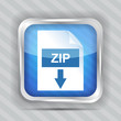 blue zip download icon on a striped background