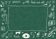 Doodle music, school chalkboard background and texture