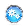 blue metallic icon with gears on white background