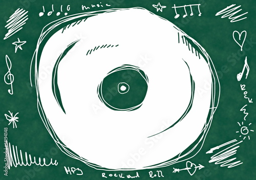 Doodle  vinyl record, school chalkboard background and texture