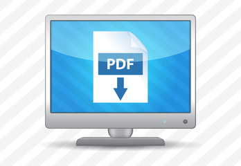 Flat screen tv with pdf download icon on a striped background
