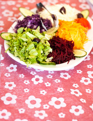 decorated salad served on a table