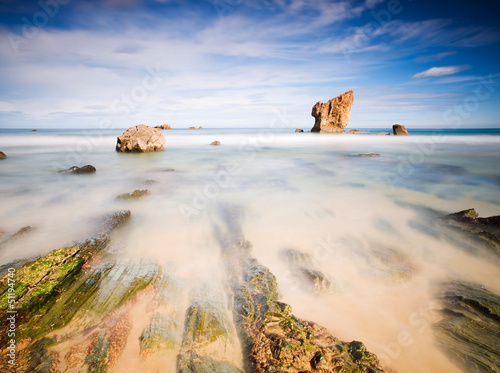 Aguilar beach in Asturias, Spain with a long exposure. Poster