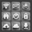 set of glass web icons on a metallic background