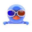 Blue bird in 3d glasses peeps over top