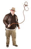 Adventurer is swinging with bull whip