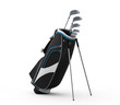 Golf clubs and Bag Isolated on White Background
