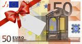 Fototapety 50 Euroschein mit rotem Band und Schleife mit Label