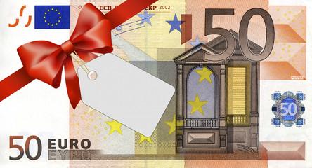 50 Euroschein mit rotem Band und Schleife mit Label