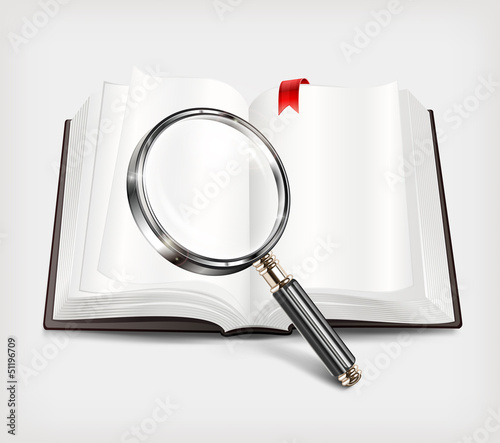 Open book and magnifying glass on white background, vector