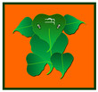 Indian Hindu God Ganesha with Vector Leaves