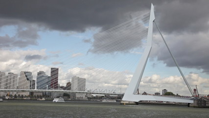 Vantovy Bridge through the river Maas in the center of Rotterdam