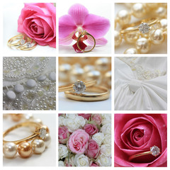 Wedding collage in pink