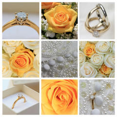 Wedding collage in yellow