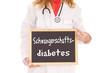 Ärztin mit Schild - Schwangerschaftsdiabetes