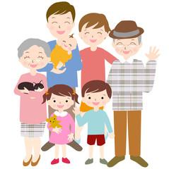 秋冬 三世代 笑顔の家族