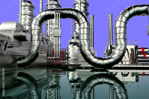 Modern refinery with blue sky