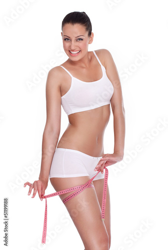 Happiness woman with measure tape