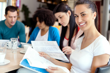 female student with friends on