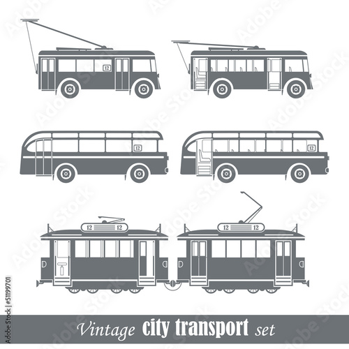 Vintage city transport vehicles set. Isolated on white