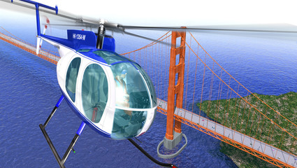 Helicopter flying over the Golden Gate bridge. Brid eye view wit