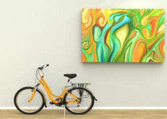 Bicicleta en una sala de estar