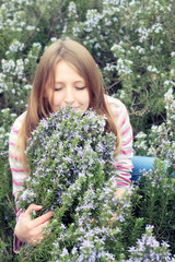 girl in the field of rosemary