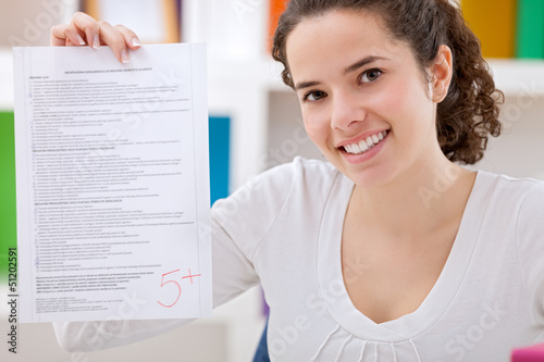 Schoolgirl with her test