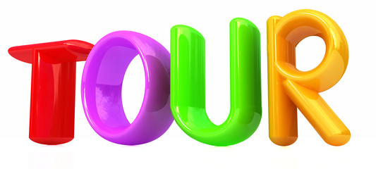 "3d colorful text ""tour"""