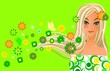 Girl on green spring background