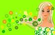 Girl on green spring background