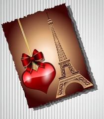 Card on the Eiffel Tower