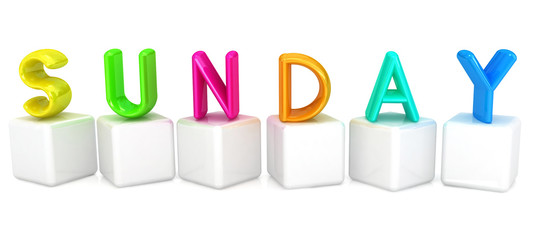 "3d letter is colorful with white cubes ""Sunday"""
