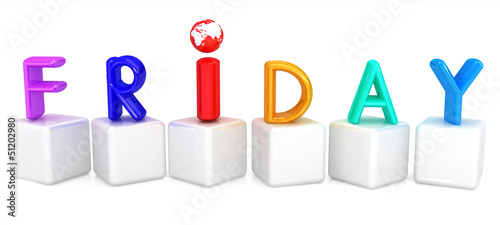 "3d letter is colorful with white cubes ""Friday"""