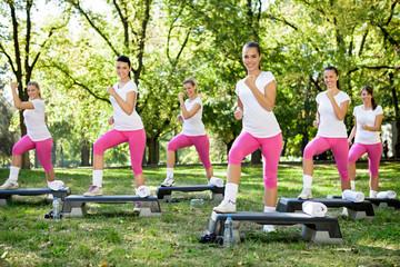 Group of women doing exercises