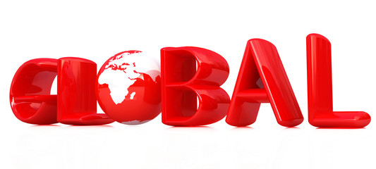 "3d text ""Global"" with globe."